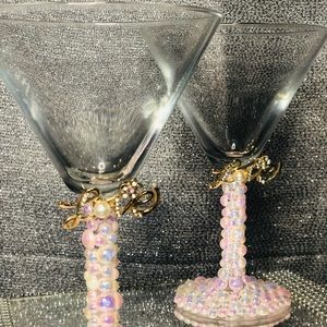 Pink and White Pearls Love Martini set